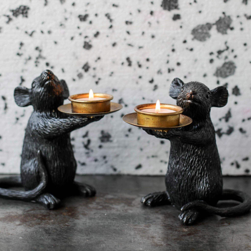 Black Mouse T-Light Candle Holder - Right - Liv's