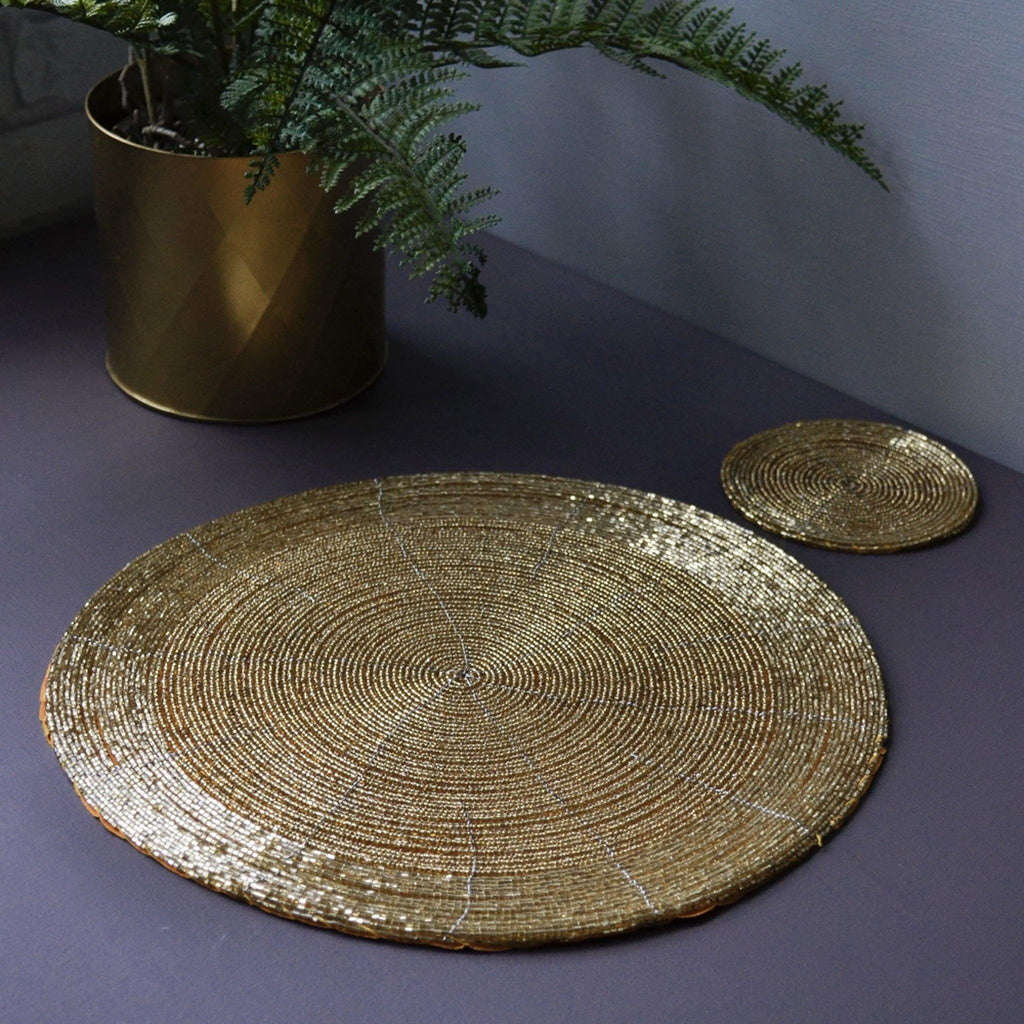 Placemat, Round Beaded - Gold - Liv's