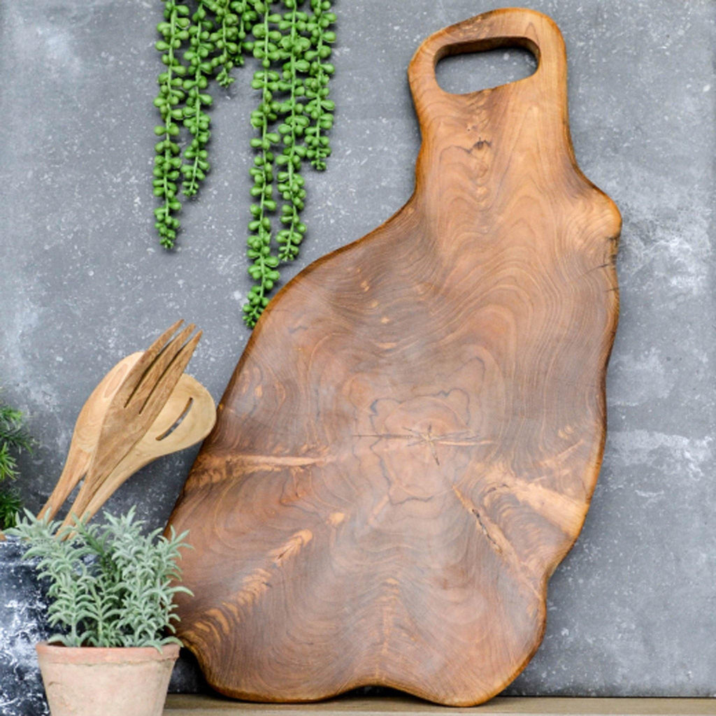Hand Carved Wobble Chopping Board with Cut out Handle - Large  60 x 30cm - Liv's