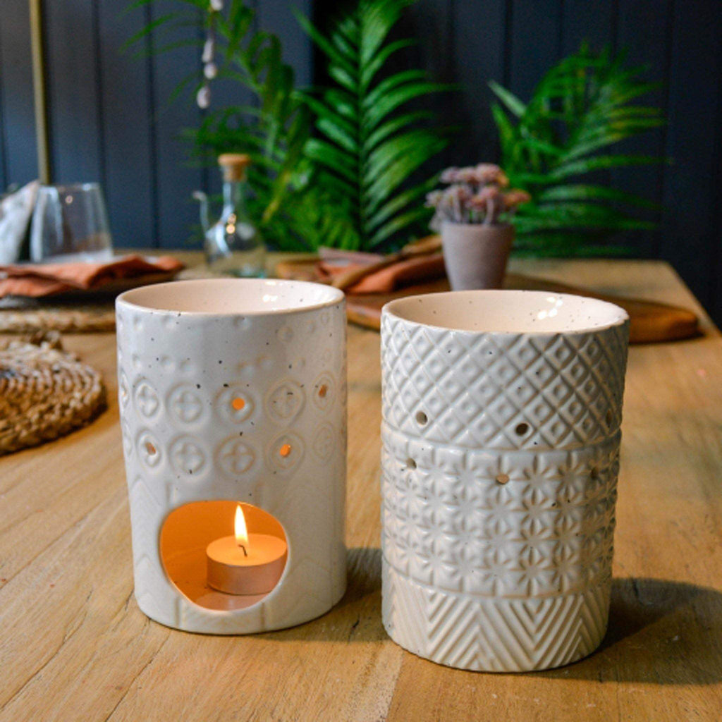 70s Style Embossed Cream Ceramic Oil Burner - Liv's