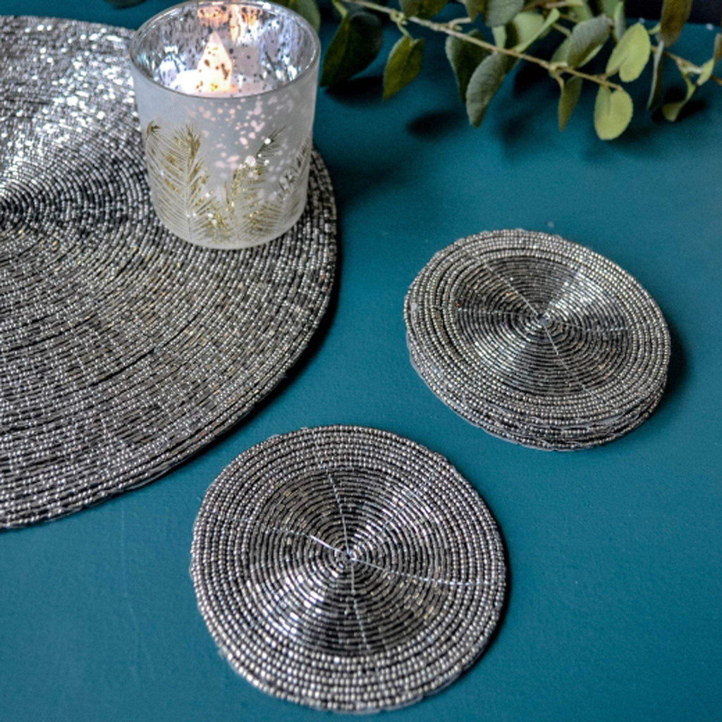 Beaded Coaster - Anthracite Silver - Liv's