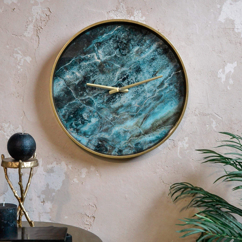 Gold Clock with Blue Green Marble Effect Face - 46cm diam - Liv's
