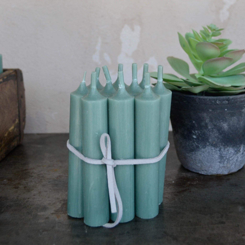 Bundle of 10 Short Dinner Candles - Green - Liv's