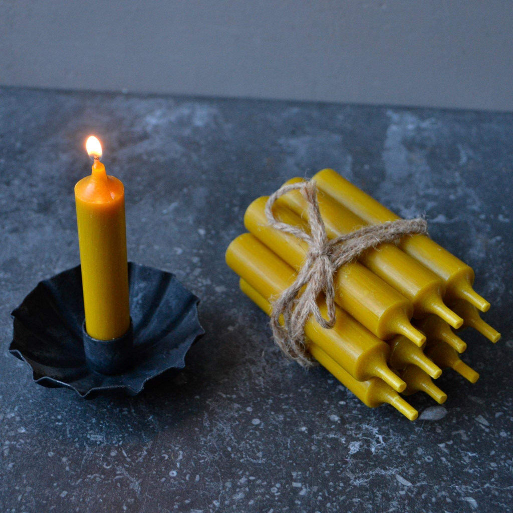 Bundle of 10 Short Dinner Candles - Mustard Yellow - Liv's
