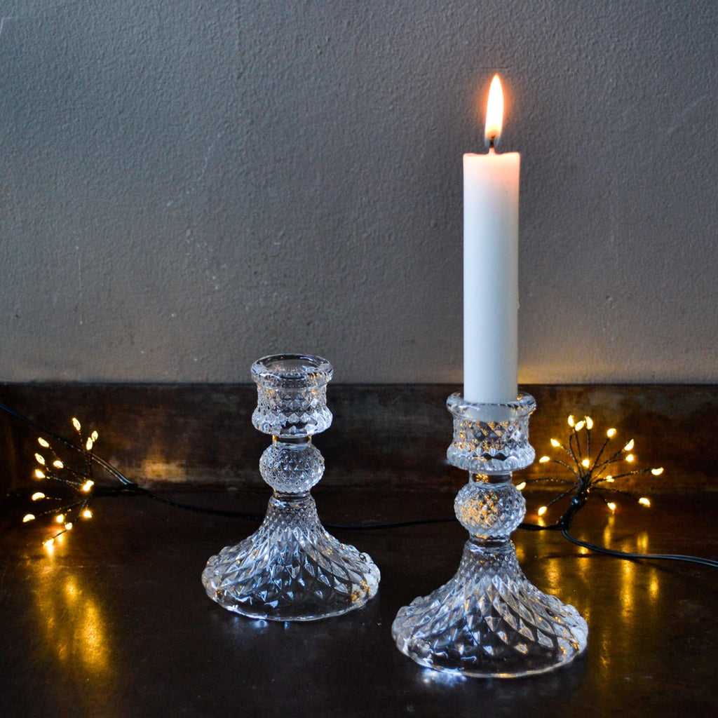 Short Diamond Cut Glass Candle Stick - Clear - Liv's