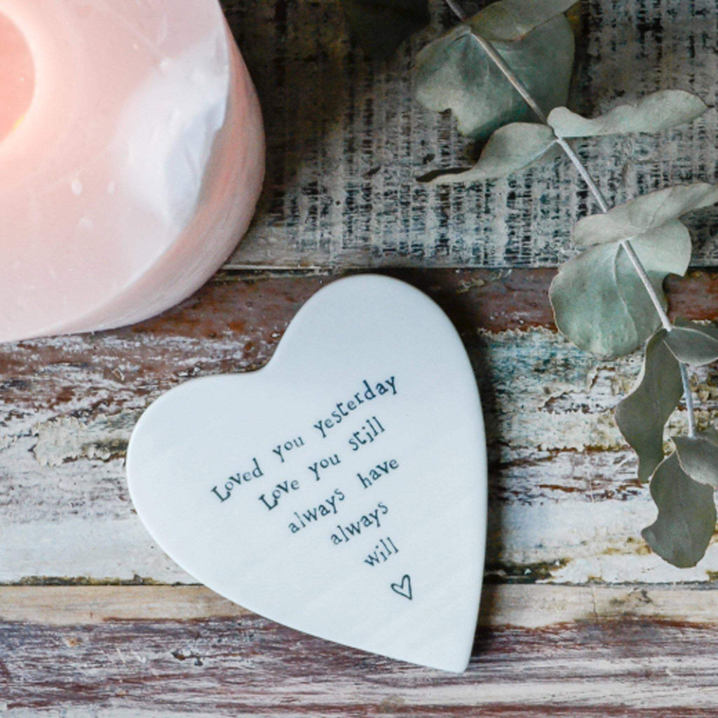Porcelain Heart Coaster-  Loved you.. - Liv's