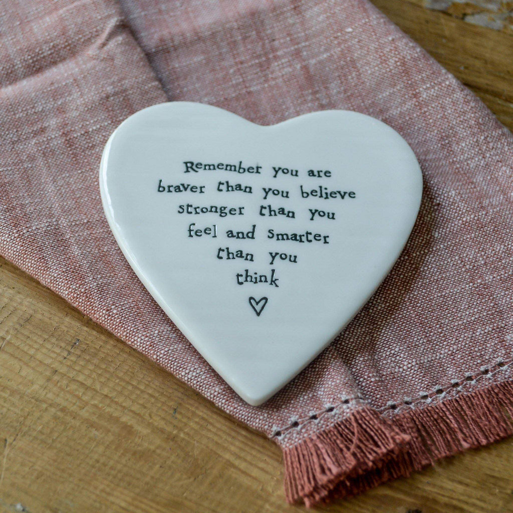 Porcelain Heart Coaster - Braver than you think - Liv's