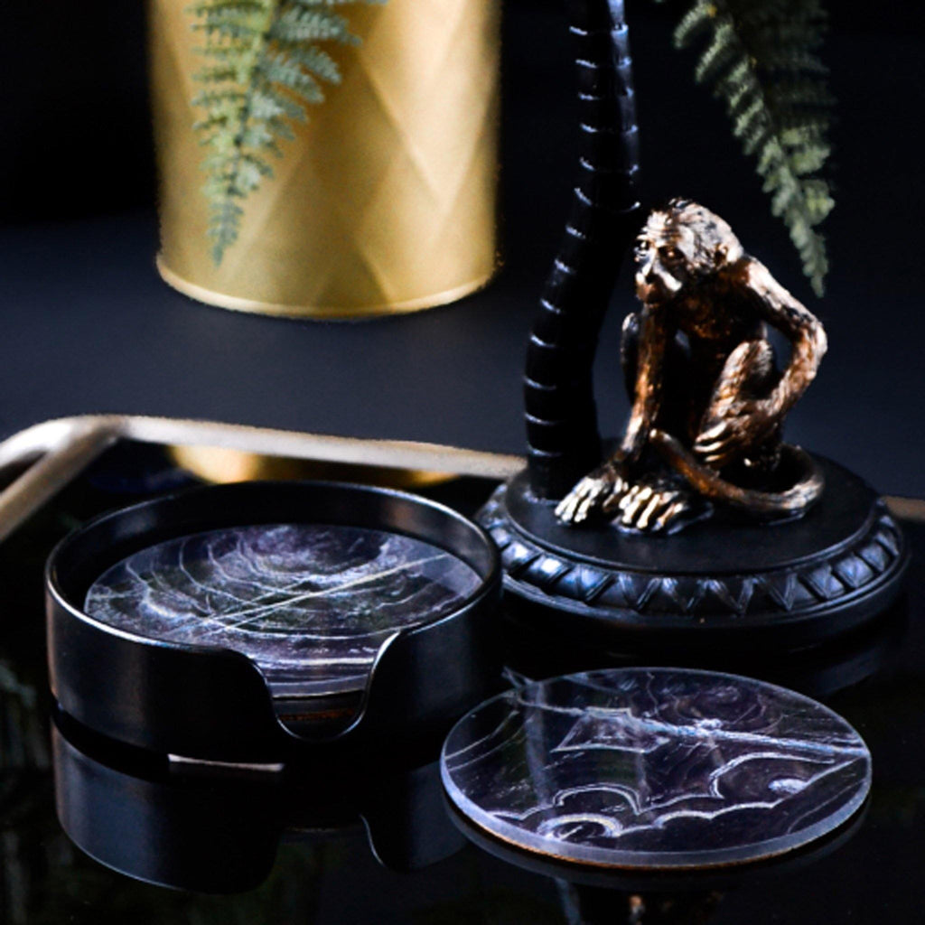 Set 4 - Black & Gold Marble Effect Glass Coasters - Liv's