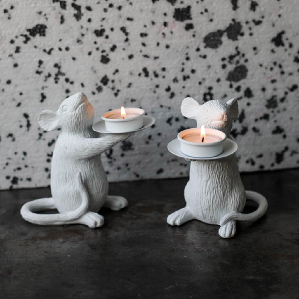 White Mouse T-Light Candle Holder - Right - Liv's