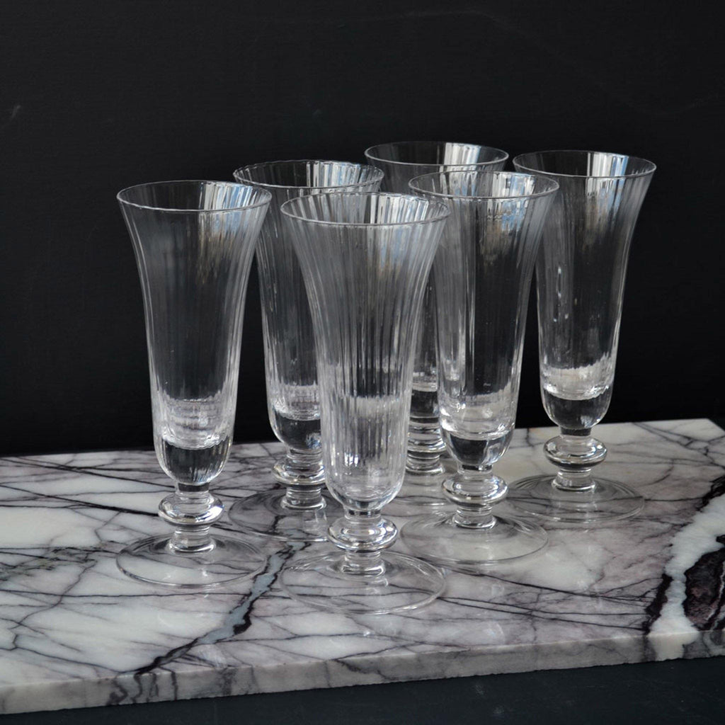 Set of  6, Ribbed Glass Flutes - Clear - Liv's
