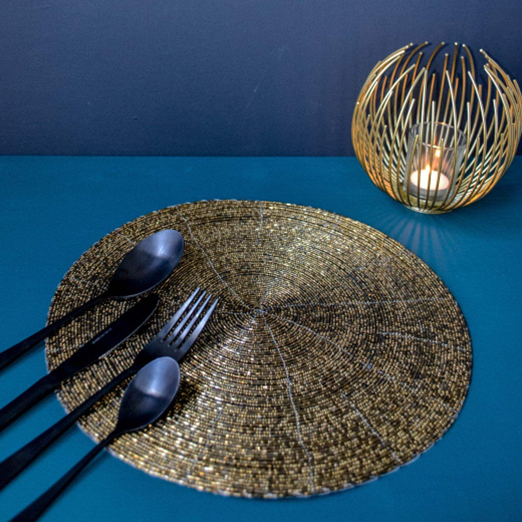 Beaded Placemat - Antique Gold - Liv's