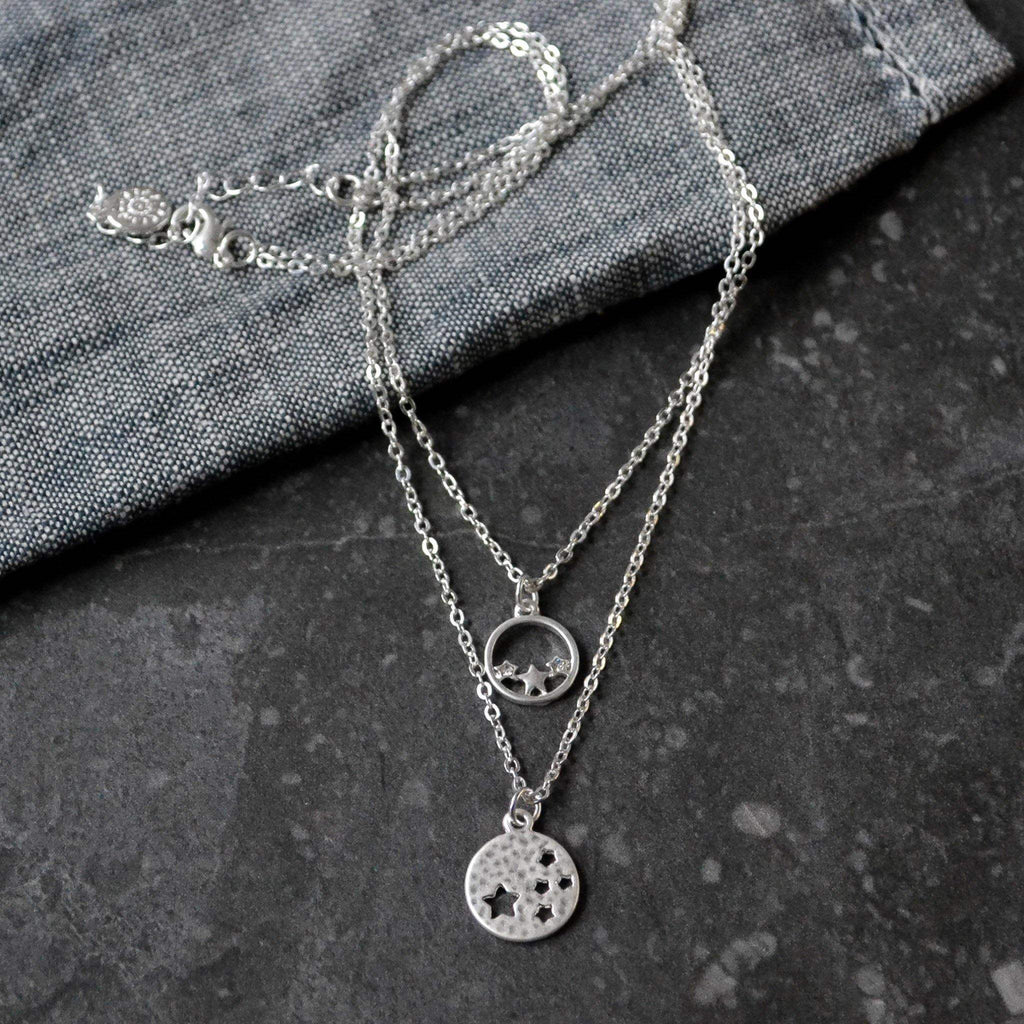 Necklace - Double Silver Chain with Star Charms - Liv's