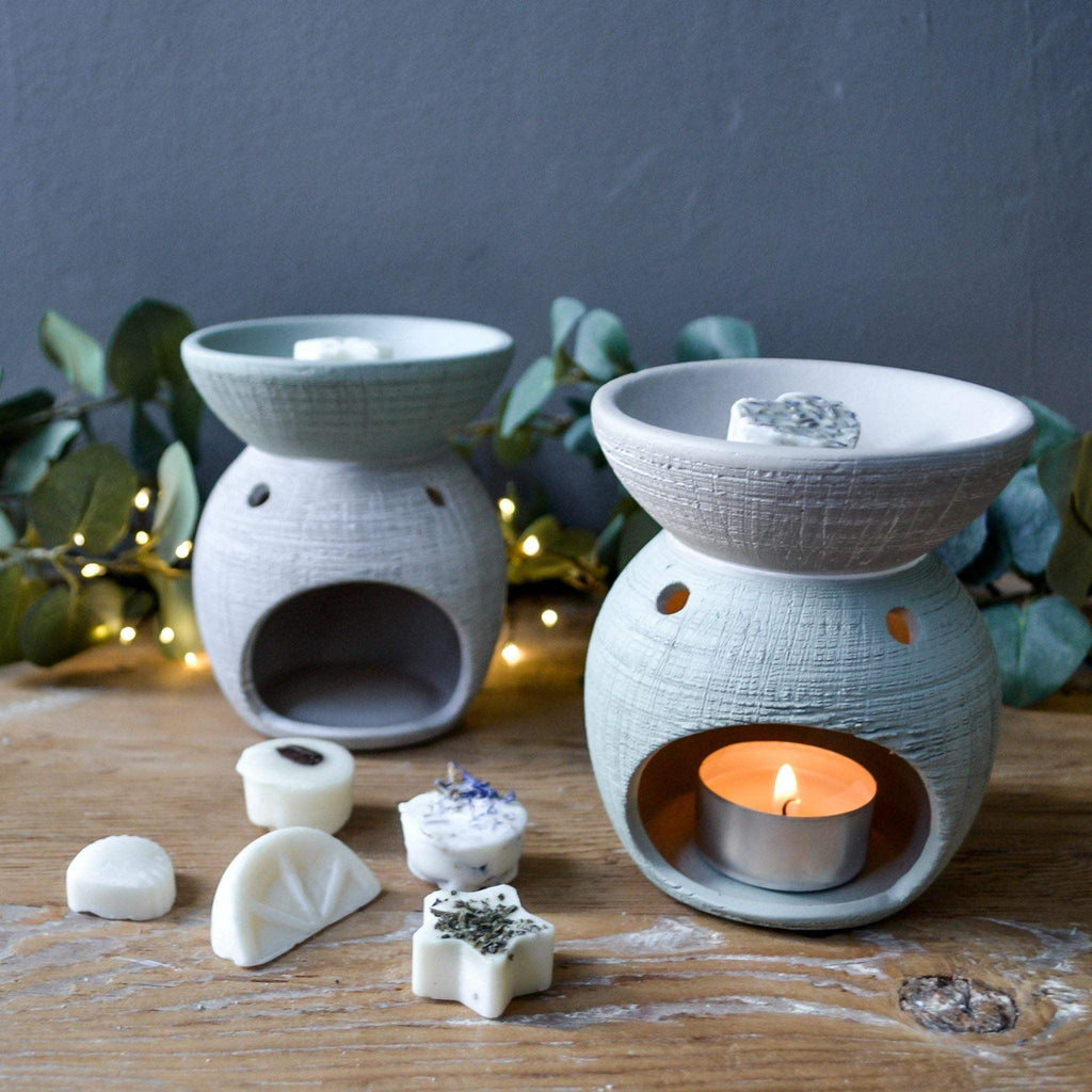 Grey & Green Scratched Oil Burner - Round - Liv's