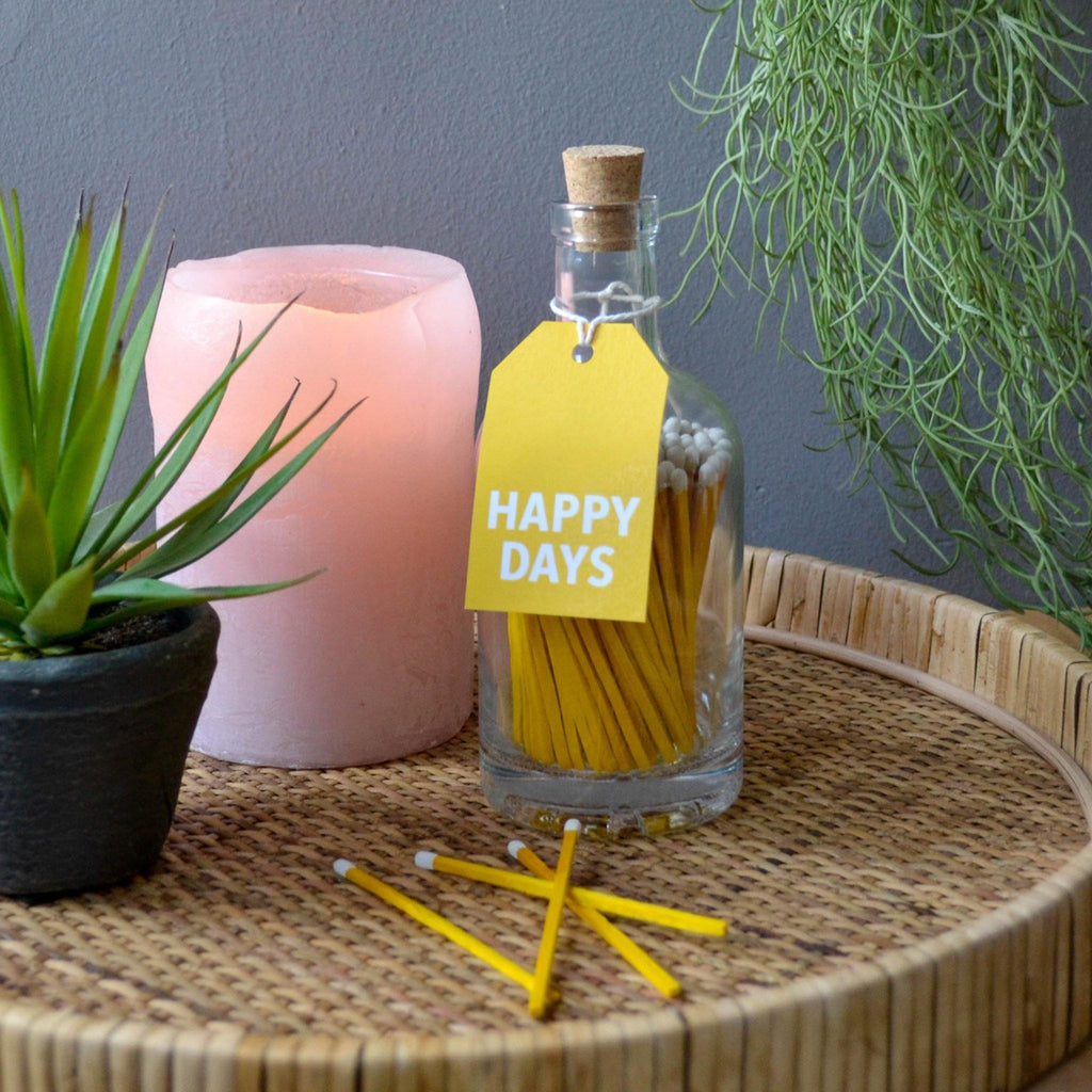 Matches in Glass Bottle - (Yellow) Happy Days - Liv's