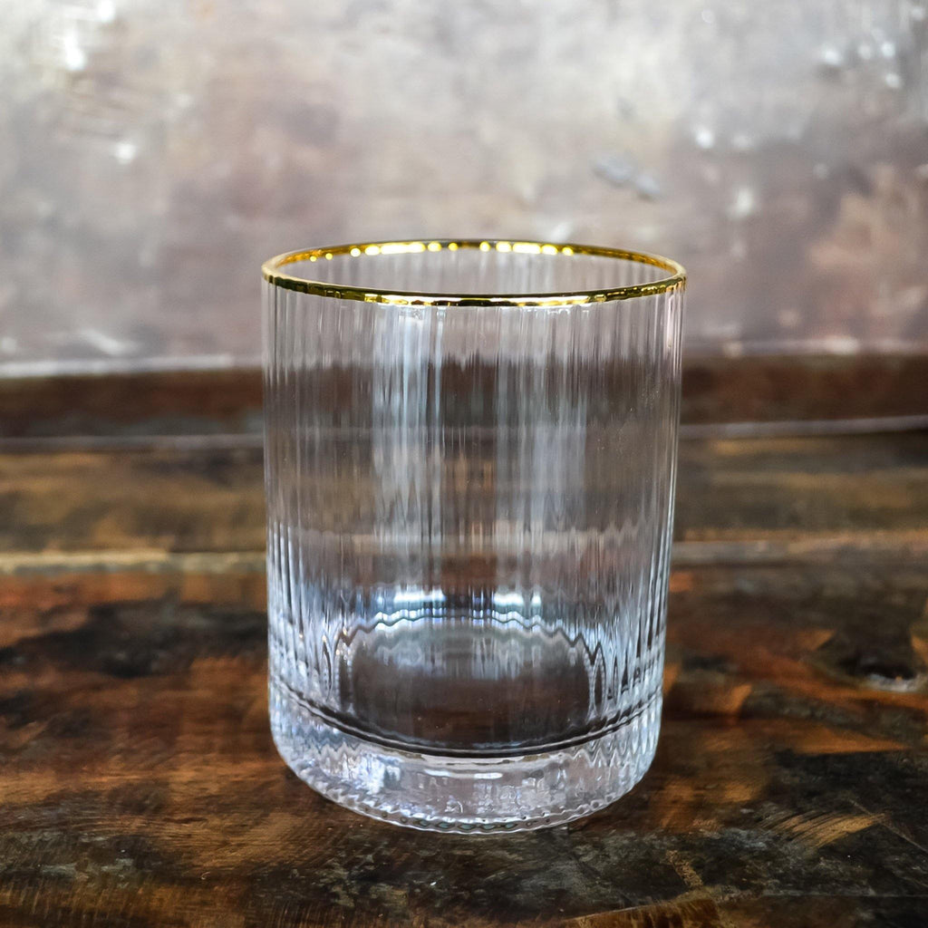 Ribbed Glass Tumbler with Gold Rim - Liv's