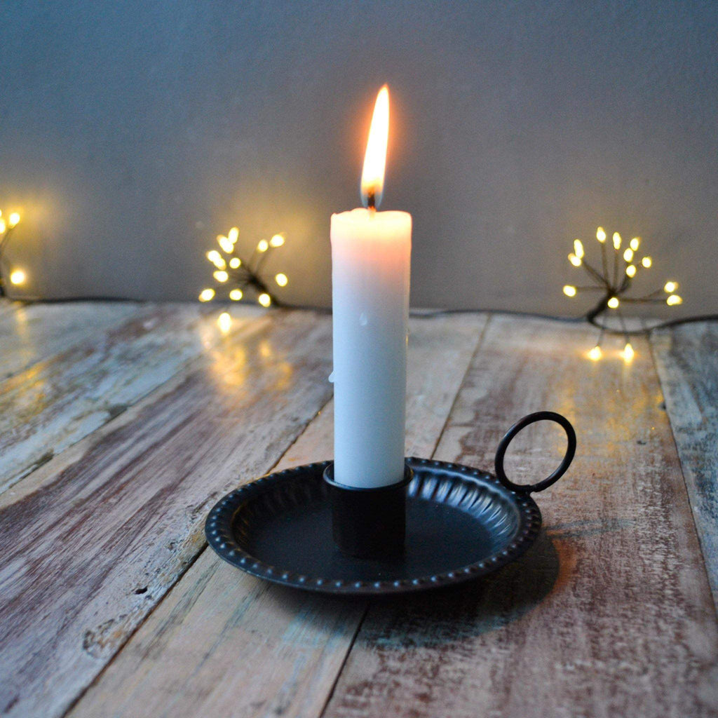 Black Metal Chamber Stick Candle Holder with Loop Handle - Liv's