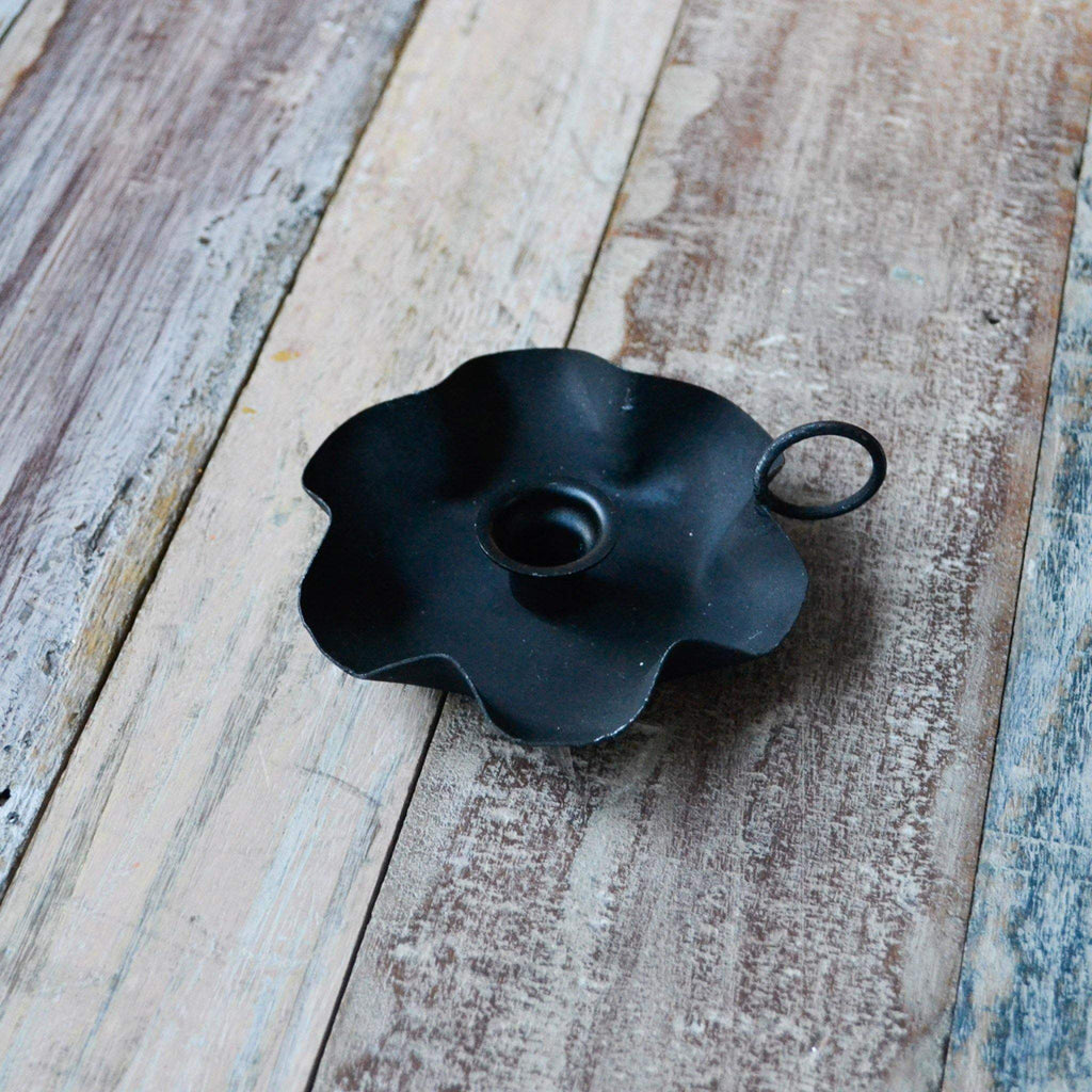 Deep Chamber Candle Holder for Skinny Candles - Burnt Black - Liv's