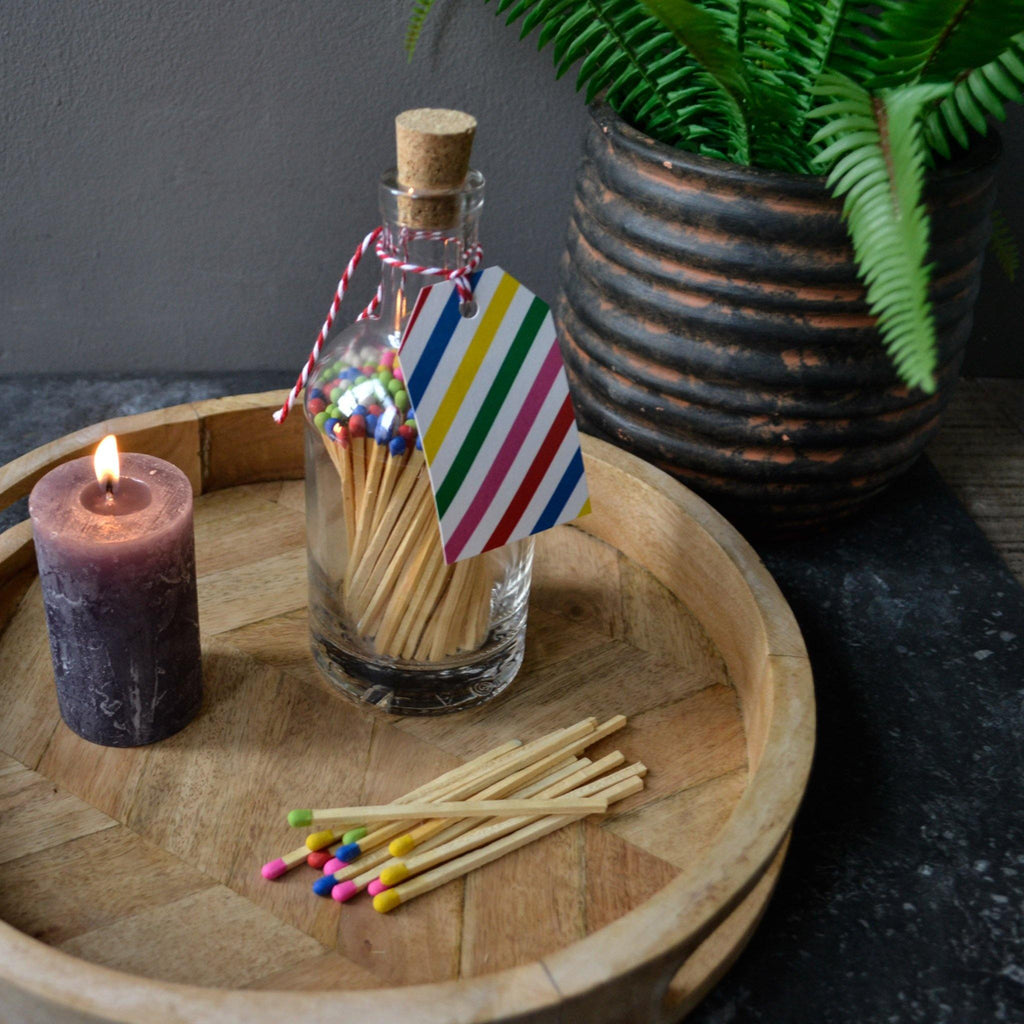 Matches in Glass Bottle - (Multi Coloured) Sholto Stripes - Liv's