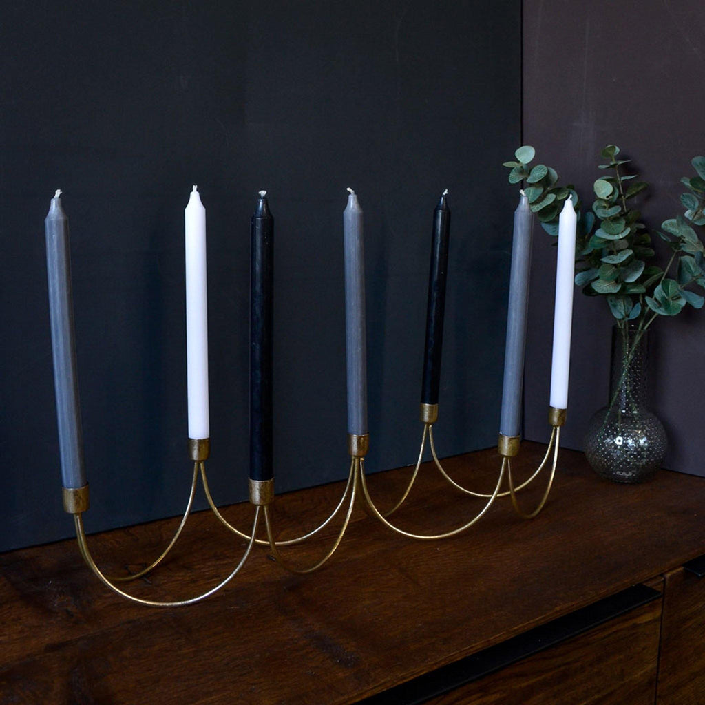 Gold 7 Way Dinner Candle Holder - Liv's