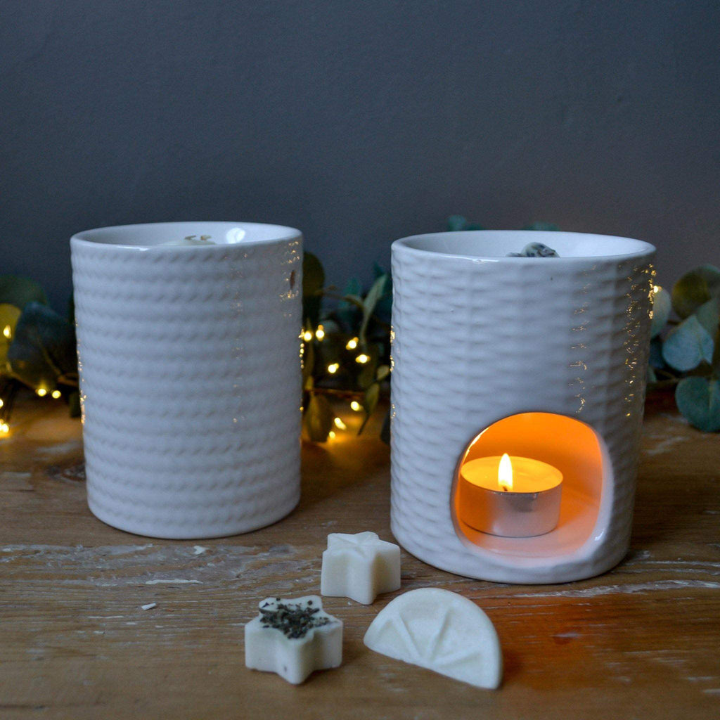 White Weave Effect Oil & Wax Melt Burner - Liv's