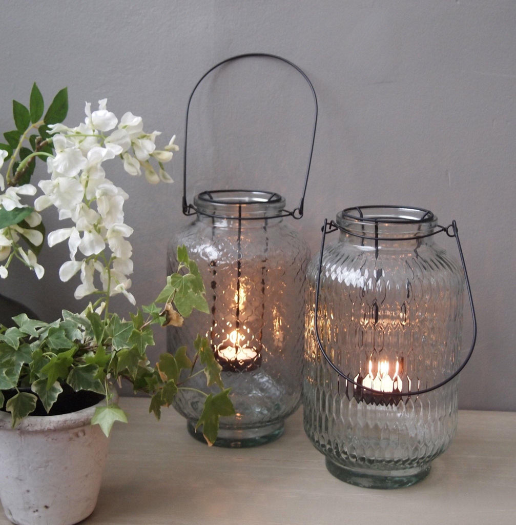 Glass Hanging Lantern With Embossed Pattern - Liv's