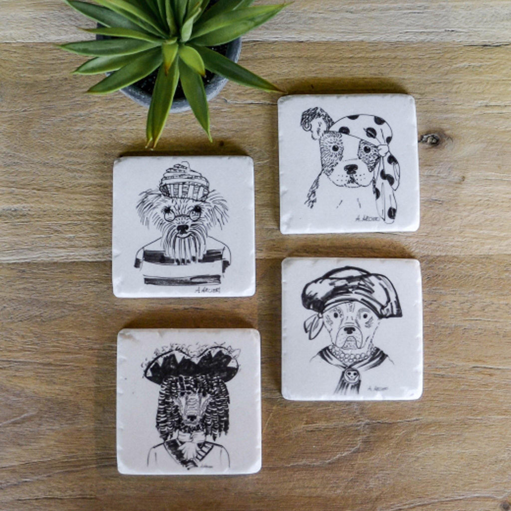 Set 4 Coasters - Pirate Dogs - Liv's