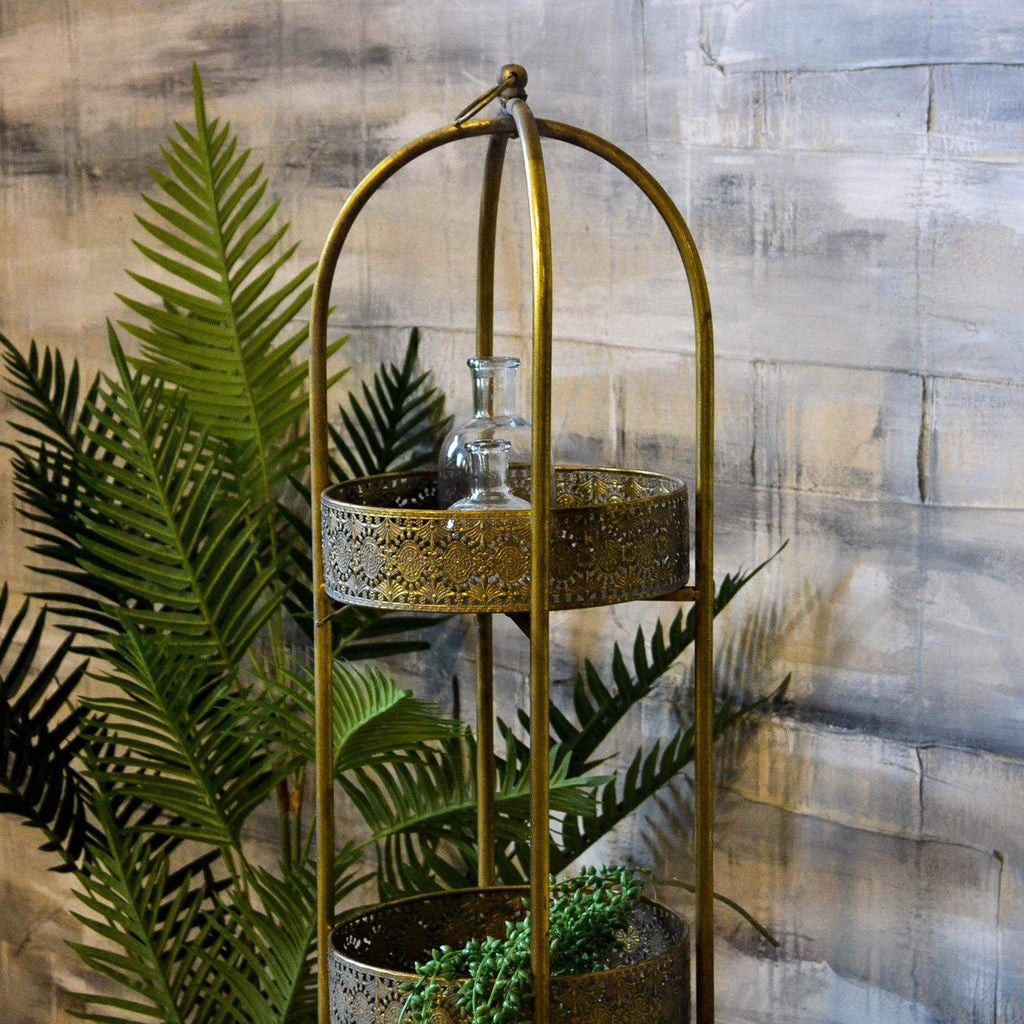 Tall Round Gold Filigree Tray Shelves - Liv's