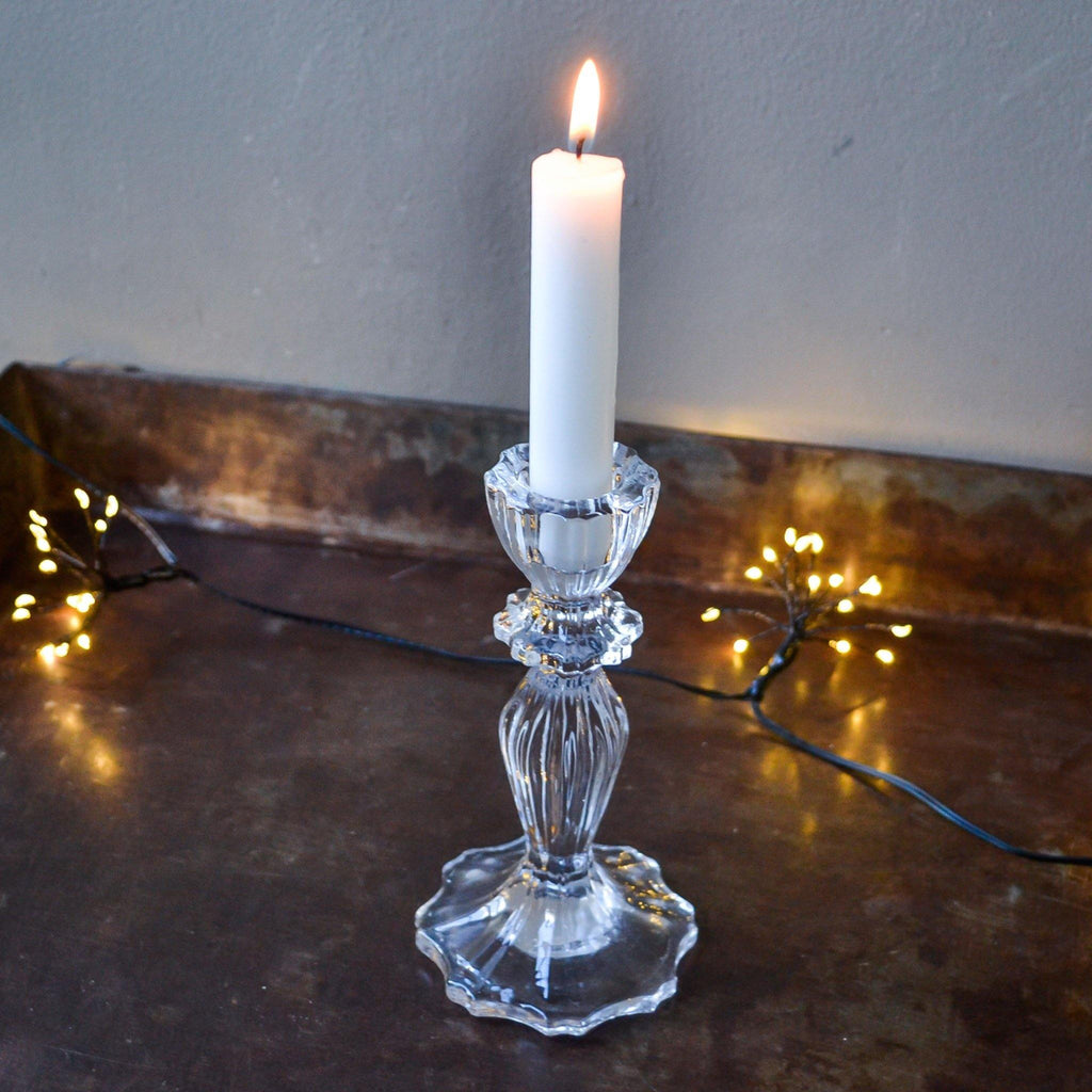 Tall Fluted Cut Glass Candle Stick - Clear - Liv's