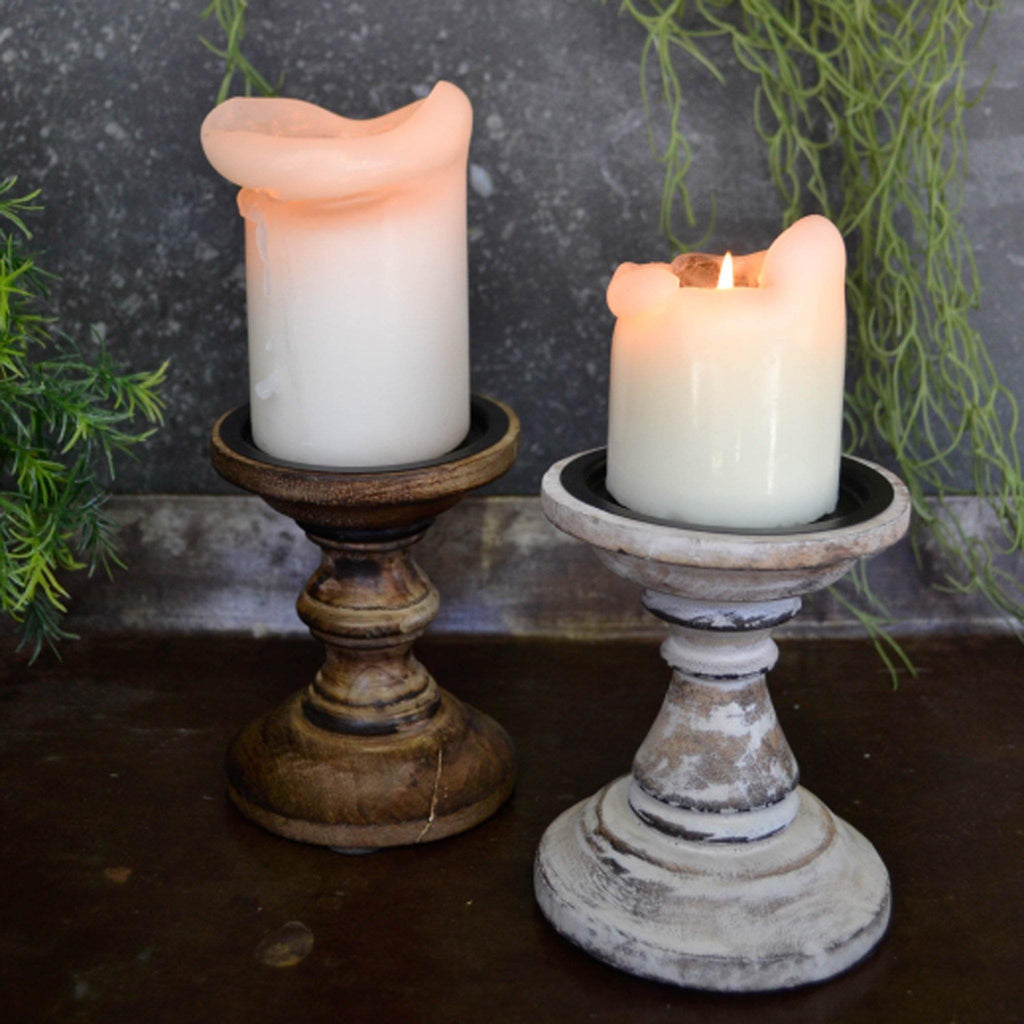 Short Wooden Candle Stick - Avail. in 2 Colours - Liv's