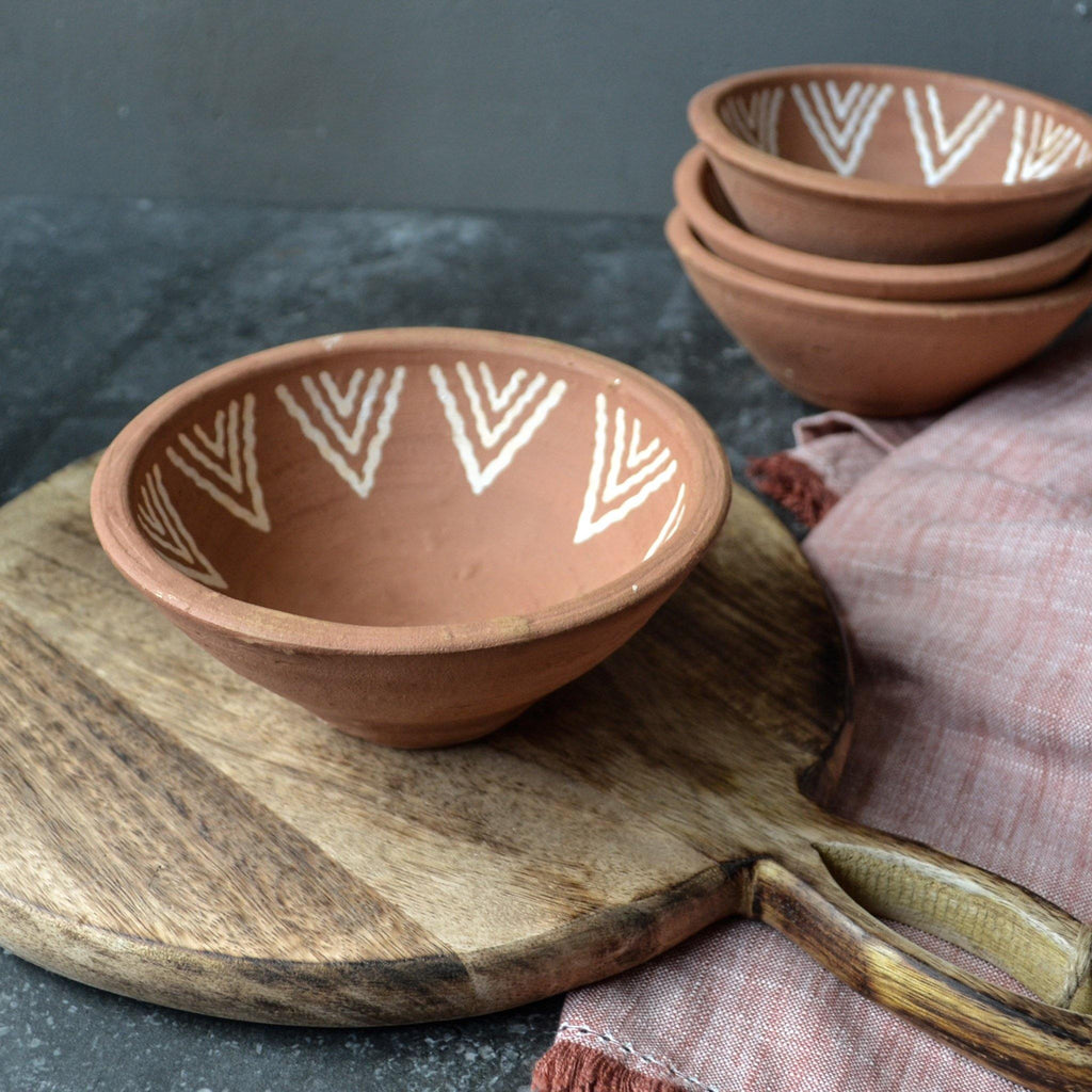 Hand Thrown Aztec Terracotta Bowl D16 - Liv's