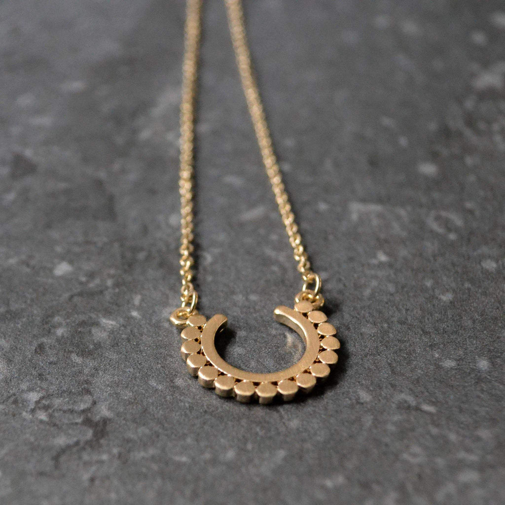 Necklace - Worn Gold Dotty Open Circle - Liv's