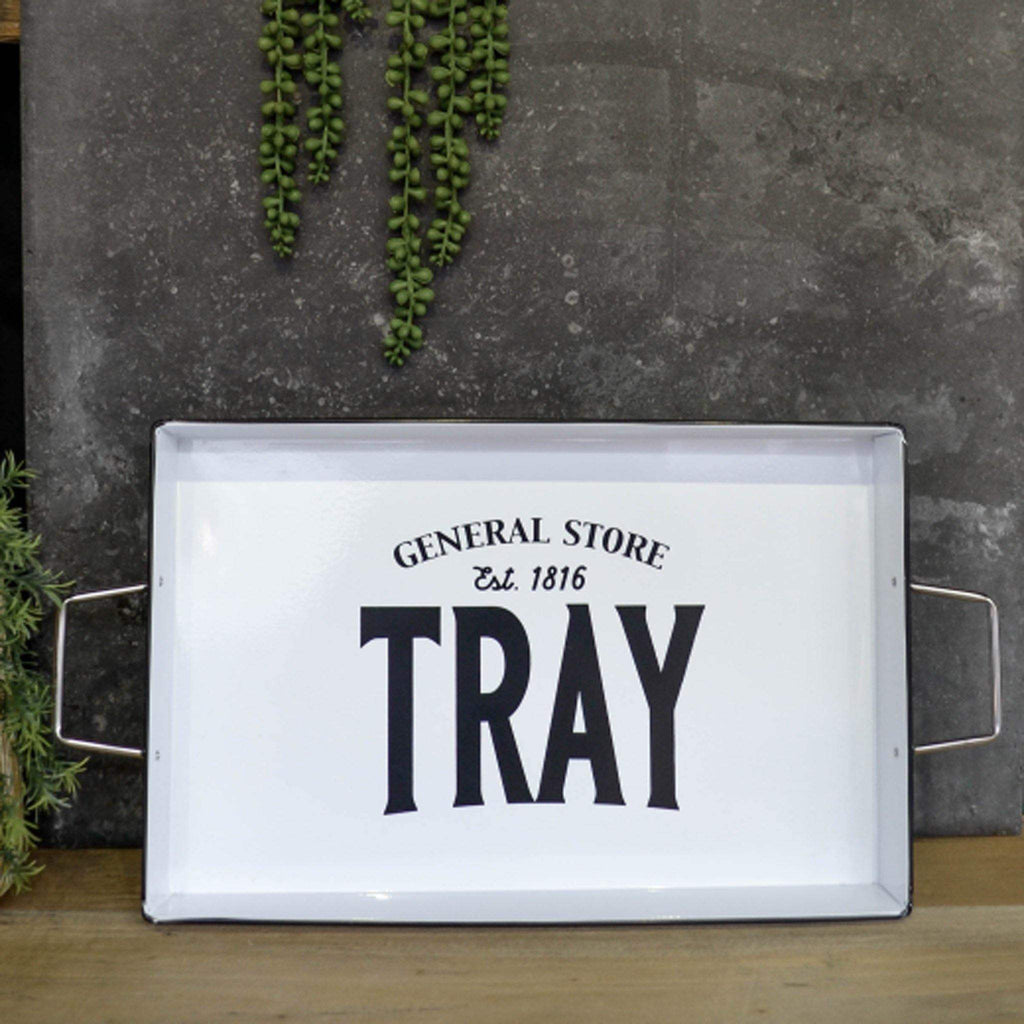 Black & White Metal Tray with Handles - Liv's