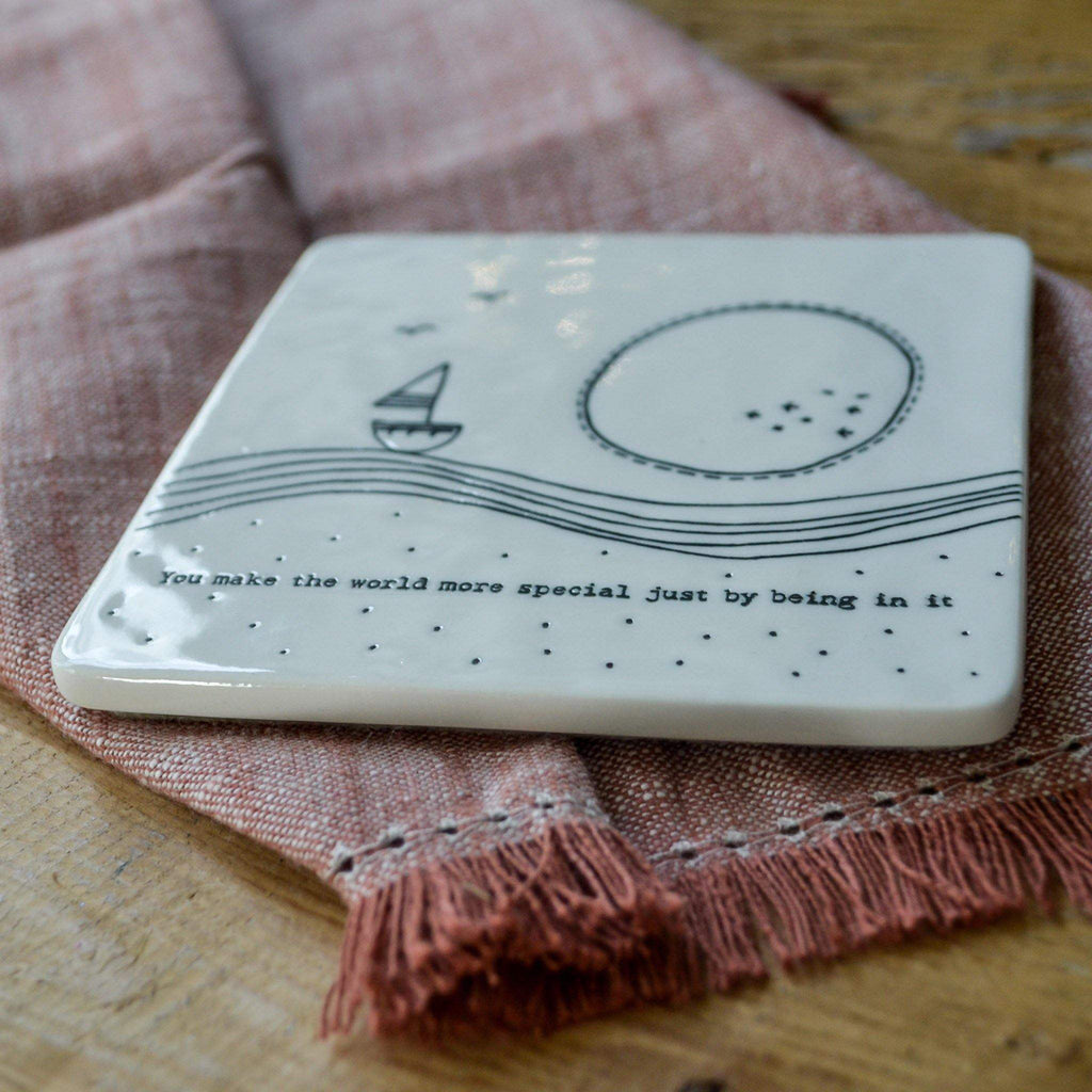 Porcelain Coaster - You make the world... - Liv's
