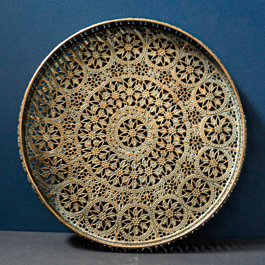 Gold Round Filigree Metal Tray - Liv's