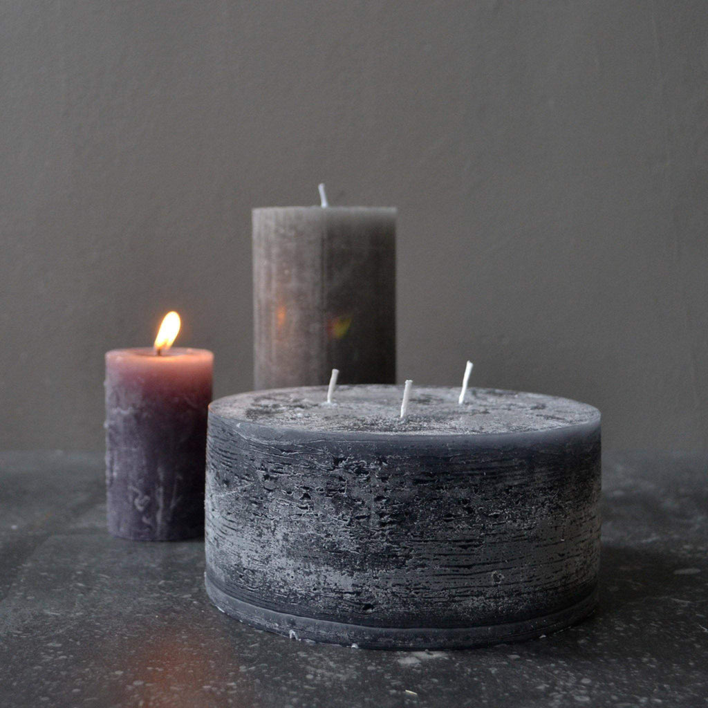 3 Wick Rustic Pillar Candle - Dark Coal Grey, 42 Hrs (H7D15cm) - Liv's