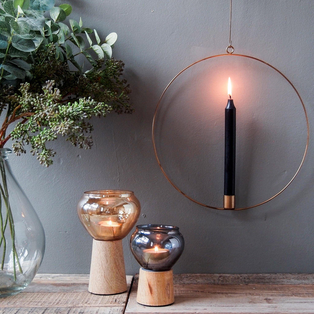 Hanging Candle Ring, Antique Brass, 30cm - Liv's