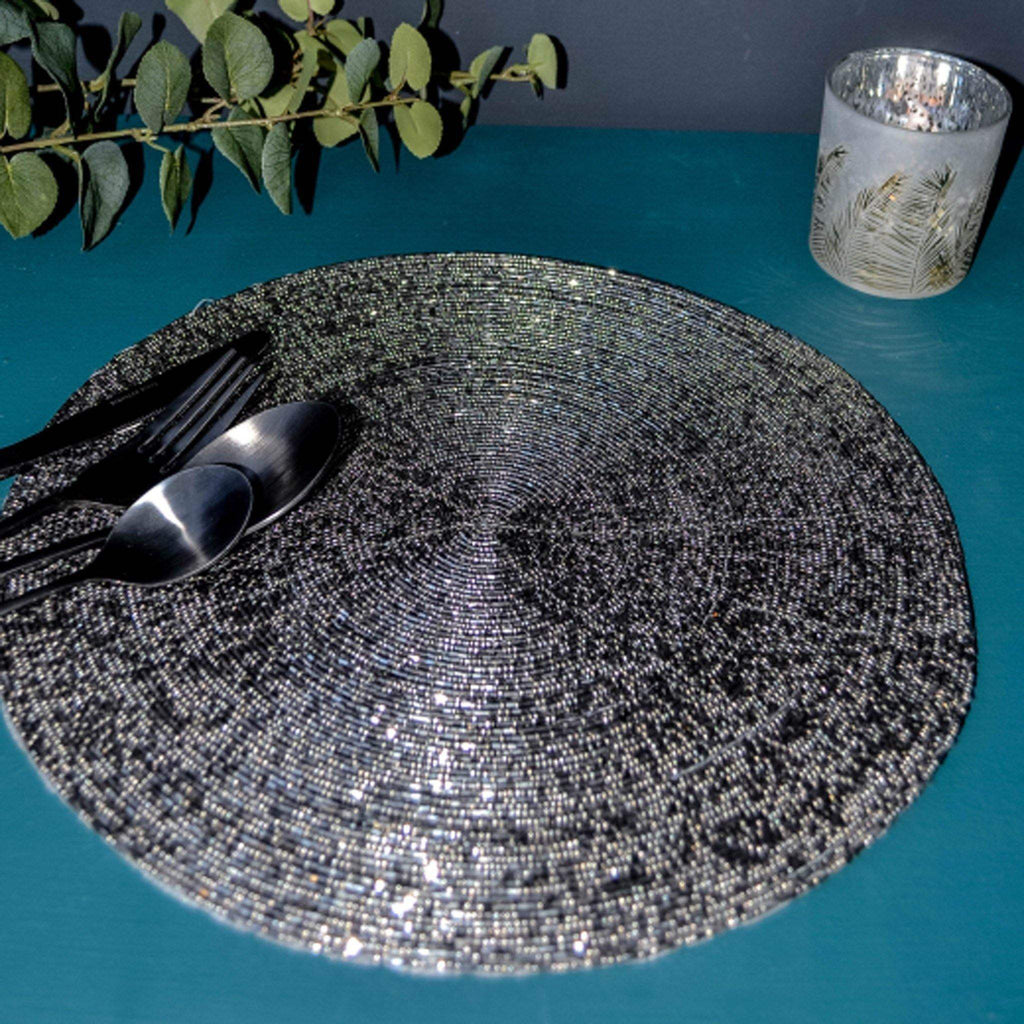 Beaded Placemat - Anthracite Silver - Liv's