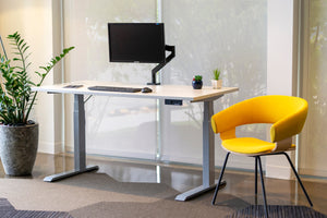 Height Adjustable Desk with Winter Wood Top and Silver Legs
