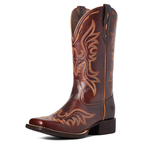Ariat Women's Round Up Flutter Mahogany Western Boot