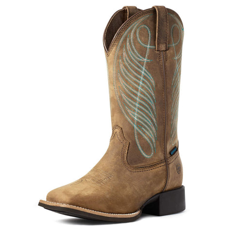 Ariat Women's Round Up Distressed Brown Waterproof Western Boot