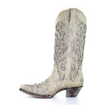 Corral Women's White Glitter Inlay Crystal Western Wedding Boot