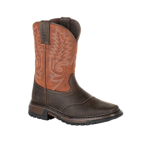 Rocky Kids' Ride Dark Chocolate FLX Western Boot