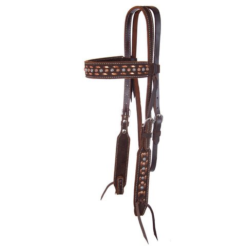 Circle Y Copper Buckstitch Roughout Browband Headstall