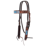 Circle Y Beaded White/Blue Headstall