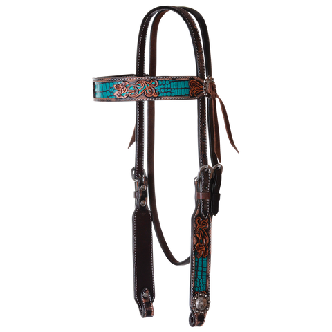 Circle Y Turquoise Gator Filigree Browband Headstall