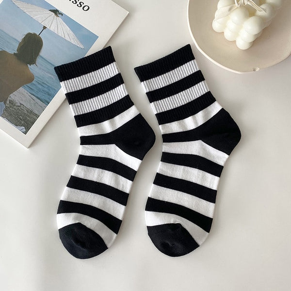 Wide striped socks