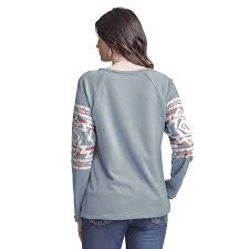 Wrangler - Womans Aztec Print Raglan Top