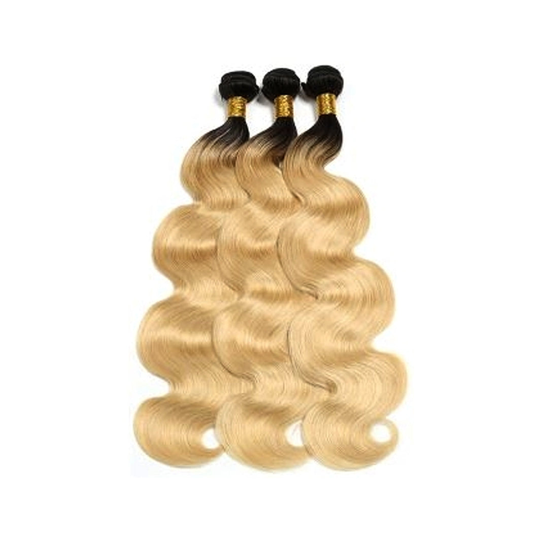 100% Brazilian Unprocessed Bundle Virgin Human Hair   - BODY WAVE T1B/613