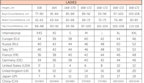 Nikolay Ladies Apparel Size Chart