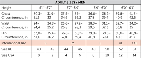 Nikolay Mens Apparel Size Chart